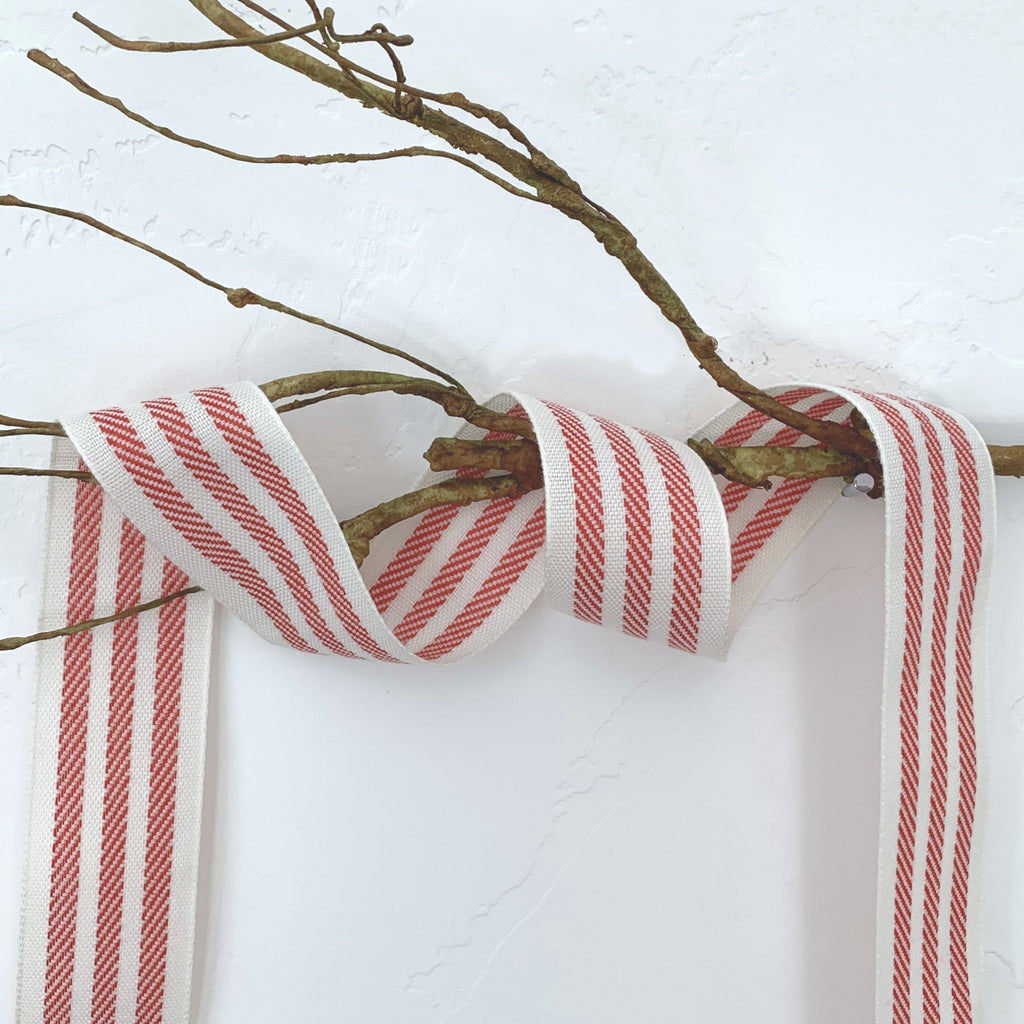 "1.25"" ivory/red stripe ribbon"
