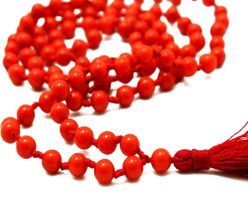 Natural Coral Stone Chain 8 mm for Meditation, Protection, Necklace for Unisex (Moonga, Munga, Praval)