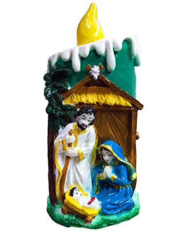 Jesus Christ Mary Family Candle Shape Statue Figurine Christian Religious, Nativity Set, Ideal Gift for Christmas & Home/Car/Office Decor (14 cm)