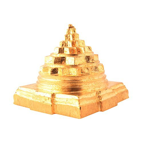 Solid Ashtdhatu Sumeru Shree Yantra for Pooja Home, Gold Colour