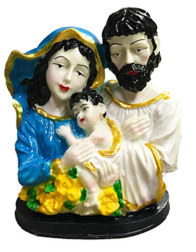 Jesus Christ Mary Statue Figurine Christian Religious, Nativity Set, Ideal Gift for Christmas & Home/Car/Office Decor (Family - 14 cm)