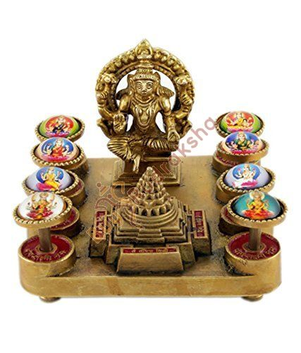 Petrichor Indian Handcrafted Ashtalaxmi Yantra Brass Chowki - Home Decoration and Gifting