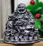 Fengshui Laughing Buddha Sitting on Luck Money Coins Carrying Golden Ingot for Good Luck & Happiness (5 inches)