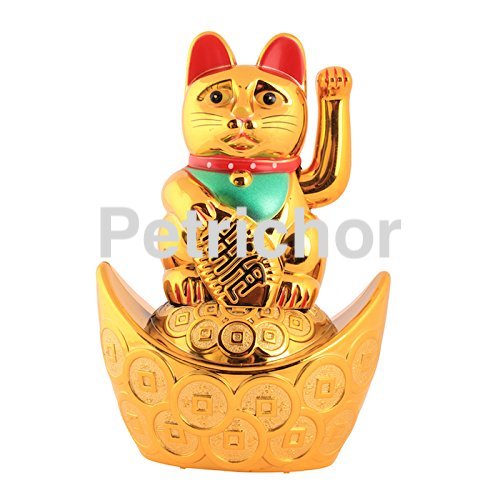 Feng shui Golden Lucky Wealth Cat sitting on fortune Ingot waving hand - Home Decor/Gifting