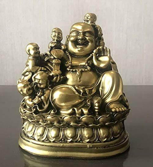 Fengshui Laughing Buddha Sitting with Children Buddha for Good Luck & Happiness (6.5 Inches) - Home Decoration & Gifting