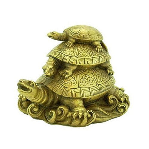 Vastu Fengshui Triple Tortoise Turtle Family for Good Luck and Longevity - Home Decoration and Gifting