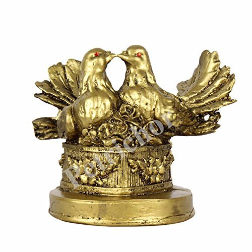 Fengshui Golden Polyresin Love Bird Pair Gift Home/Office Decoration