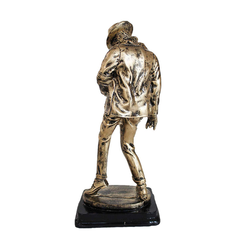 Michael Jackson Dancing Hand Crafted Statue Figurine Antique Home Decor Gifts- 12.5 inches (Antique Golden)