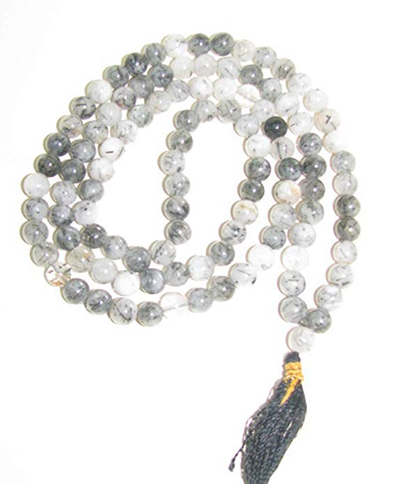 Rutile Onyx Stone Chain 8 mm for Meditation, Protection, Necklace for Unisex
