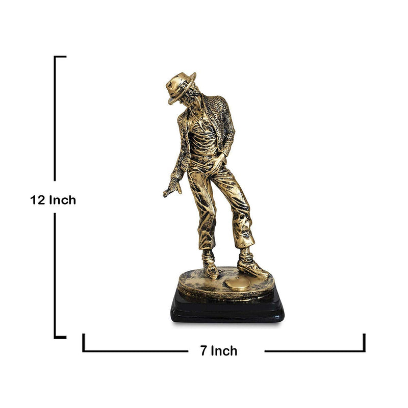 Michael Jackson Dance Funky Hand Crafted Statue Figurine Antique Home Decor Gifts- 12.5 inches (Antique Golden)