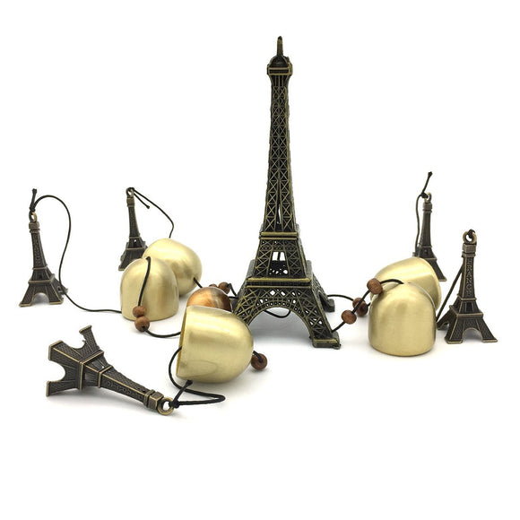 Paris Eiffel Tower 4 Bells Wind Chime with Positive Energy for Home Office Decoration Gifting (20 inches)