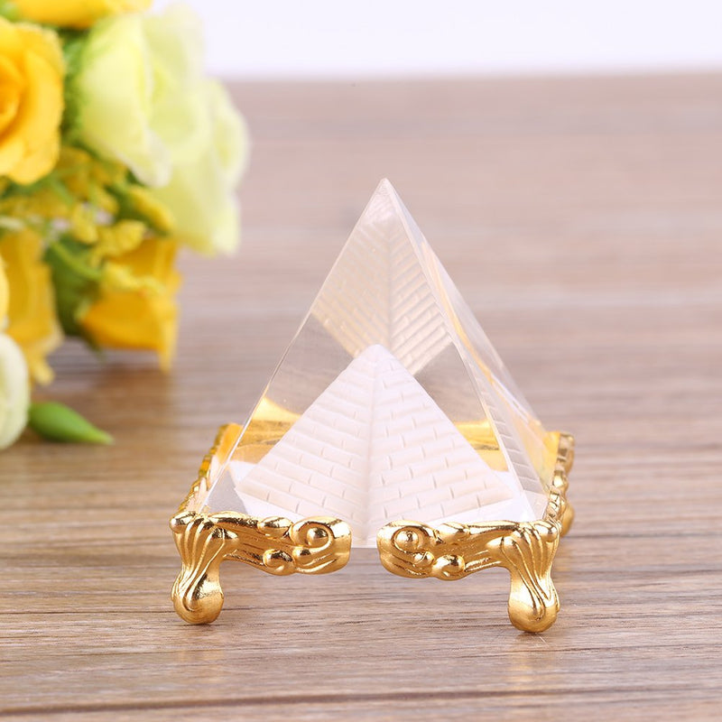 Transparent Leaded Crystal Fengshui Pyramid with Gold Legs for Prosperity (2.3 Inches) - Home Decoration and Gifting