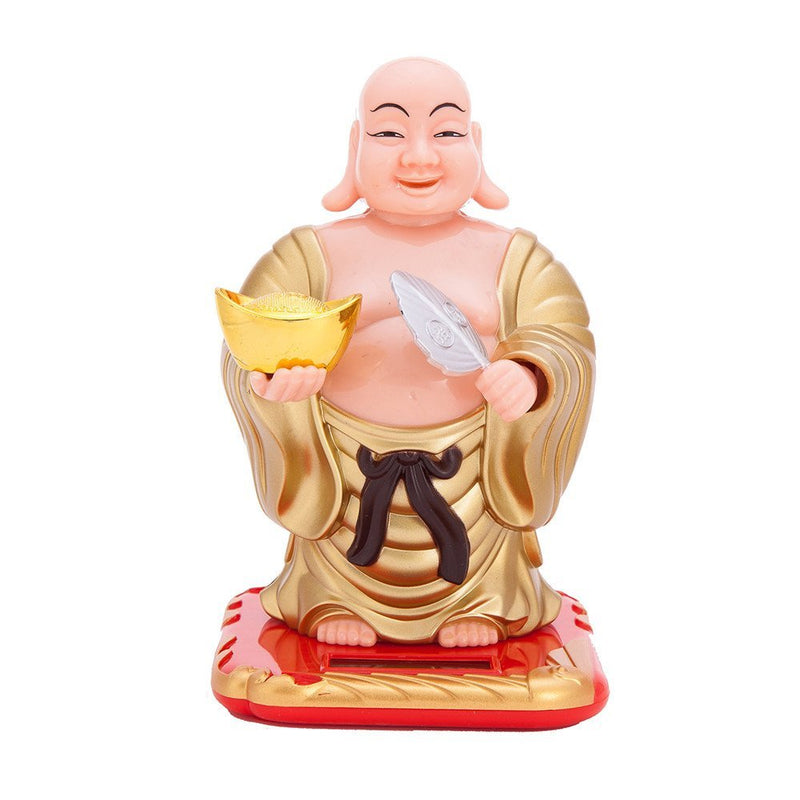 Solar Laughing Buddha with Waving Fan - 19 cm Moving Head for Health Wealth & Prosperity