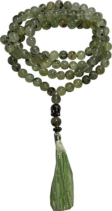 Petrichor Prehnite Mala 8 mm for Vastu, Meditation, Protection, Energizer, Vitality/Passion Mala/Necklace for Unisex/Jewellery/Rosary Beads