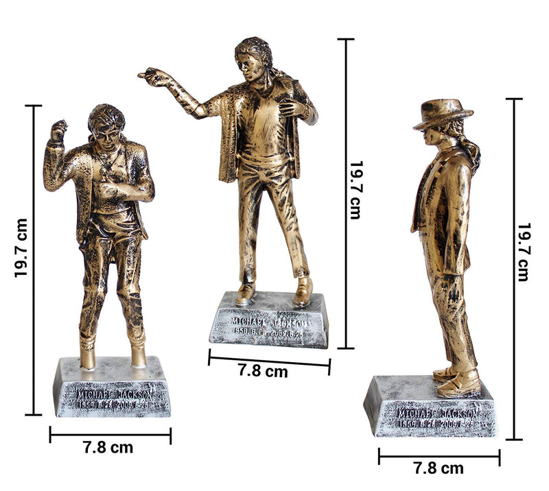 Set of 3 Michael Jackson Antique Handicraft Figurine Showpiece Statue Gift Home Decorations (Golden)