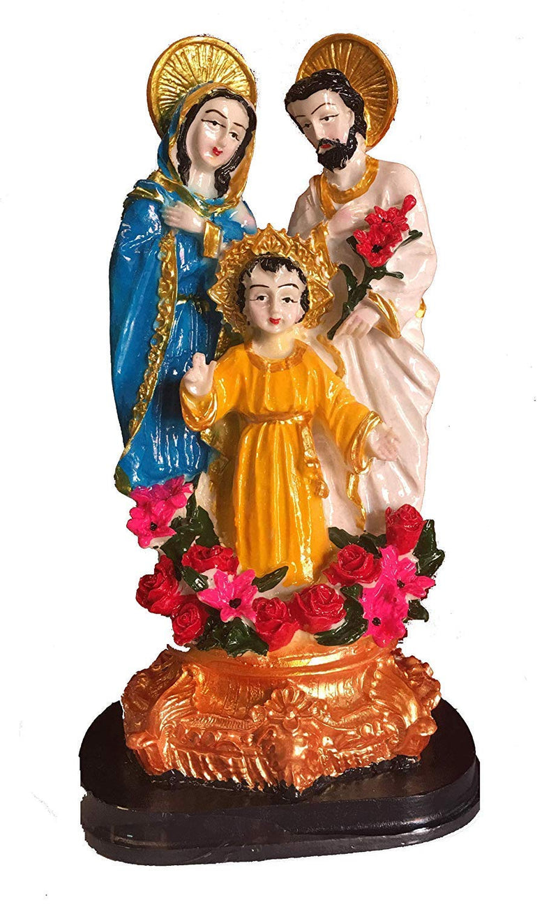 Crucifix Holy Family Jesus Mary Joseph Statue for Home, Church and Chapel Decoration (Height: 22 cm)