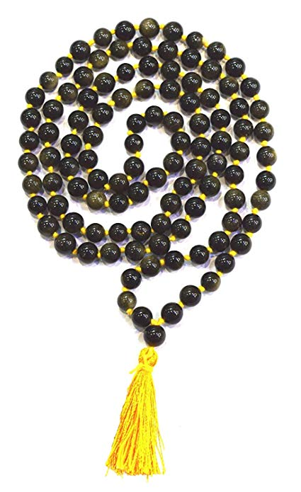 Cat's Eye Original Mala Necklace 8 mm for Meditation, Vitality/Passion Mala