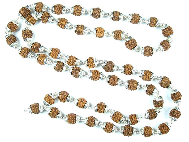 Meditation Yoga Mala Gift- Rudraksha Prayer Beads Healing Mala with Silver Capping (108 beads)