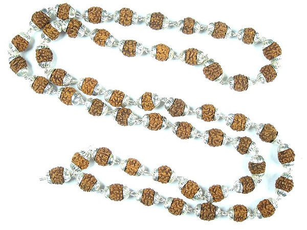 Meditation Yoga Mala Gift- Rudraksha Prayer Beads Healing Mala with Silver Capping