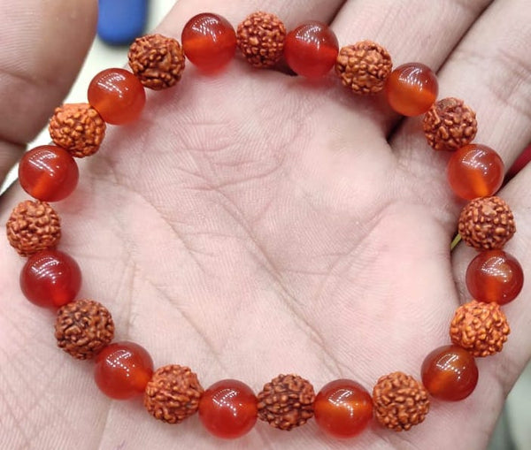 Buy Original Carnelian Rudraksha Bracelet Online at Cheapest Best Price