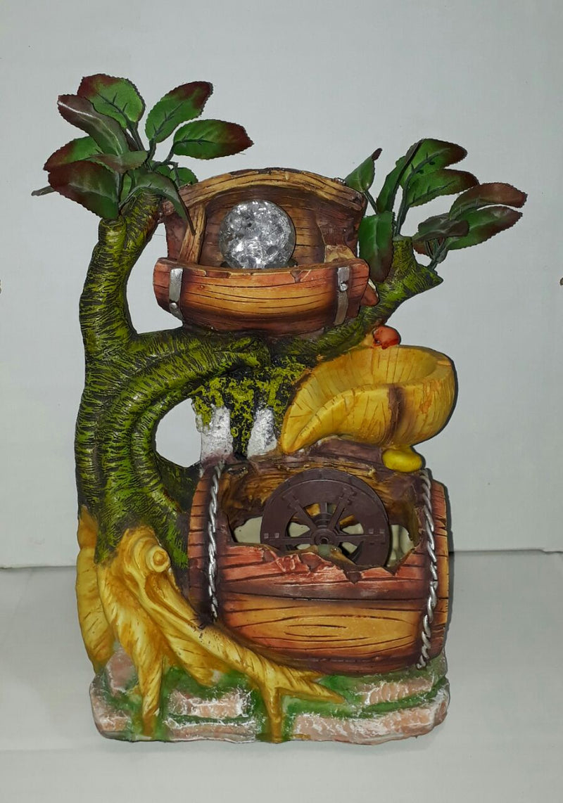 Buy Premium High quality Green Yellow Village Tree Barrel Indoor Water Fountain