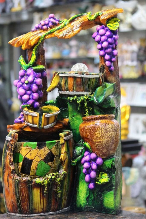 Buy Premium High quality Green Yellow Village Well Grapes Tree Figurine Indoor Water Fountain