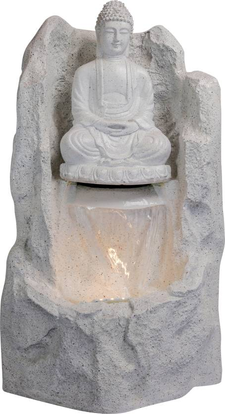 Lord Buddha Water Fountain for Home/Office/Puja Room/House Warming Gift/Living Room/Hall/Terrace (White)