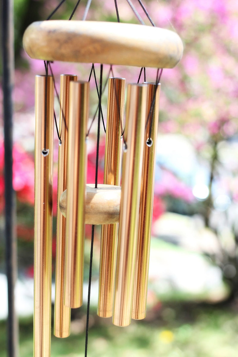 Large Premium Wooden Finish Brown Melidious Tinkling Music Wind Chime with Positive Energy for Home Office Decoration Gifting (Golden Rods, 60 inches)