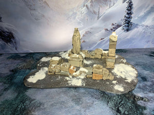 3D printed ruins that are piece of scatter terrain, designed for tabletop wargaming and Role Playing Games.
