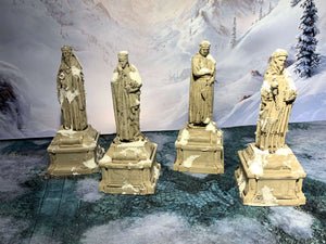 3D printed statues that are a pieces of scatter terrain, designed for tabletop wargaming and Role Playing Games.