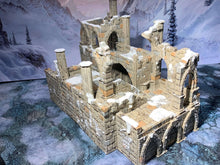 Load image into Gallery viewer, A 3D printed bridge garrison in ruins that is a piece of scatter terrain, designed for tabletop wargaming and Role Playing Games.