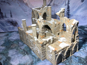A 3D printed bridge garrison in ruins that is a piece of scatter terrain, designed for tabletop wargaming and Role Playing Games.