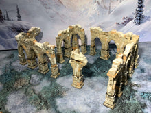 Load image into Gallery viewer, 3D printed pillar ruins that are pieces of scatter terrain, designed for tabletop wargaming and Role Playing Games.