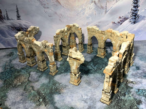 3D printed pillar ruins that are pieces of scatter terrain, designed for tabletop wargaming and Role Playing Games.