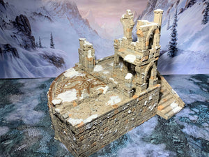 A 3D printed ruined building that is a piece of scatter terrain, designed for tabletop wargaming and Role Playing Games.