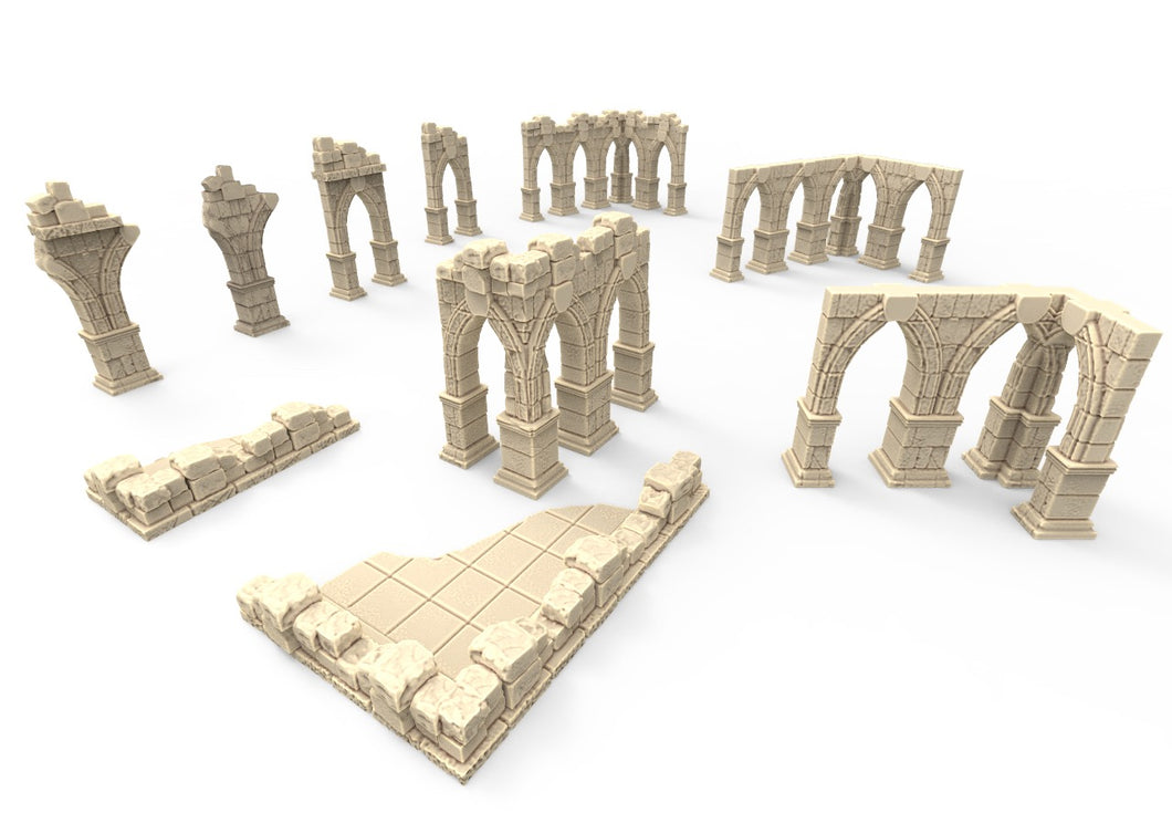 3D printed pillar ruins that are pieces of scatter terrain, designed for tabletop wargaming and Role Playing Games