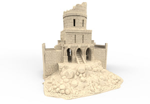 A 3D printed ruined Keep that is a piece of scatter terrain, designed for tabletop wargaming and Role Playing Games.