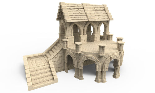 A 3D printed chapel that is a piece of scatter terrain, designed for tabletop wargaming and Role Playing Games.