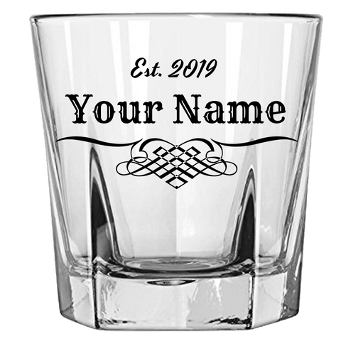 Personalized Whiskey Rocks Glass Laser Etched
