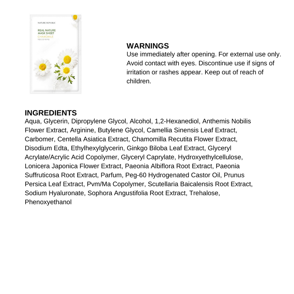 Real Nature Chamomile Mask Sheet