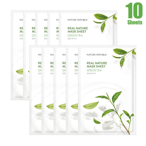 Load image into Gallery viewer, Real Nature Green Tea Mask Sheet (10 SHEETS)