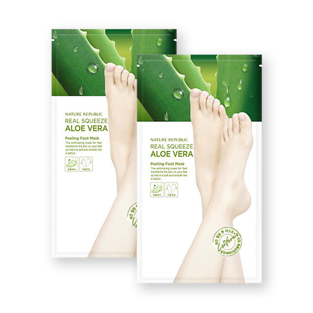 Real Squeeze Aloe Vera Peeling Foot Mask Sheet (Pack of 2)
