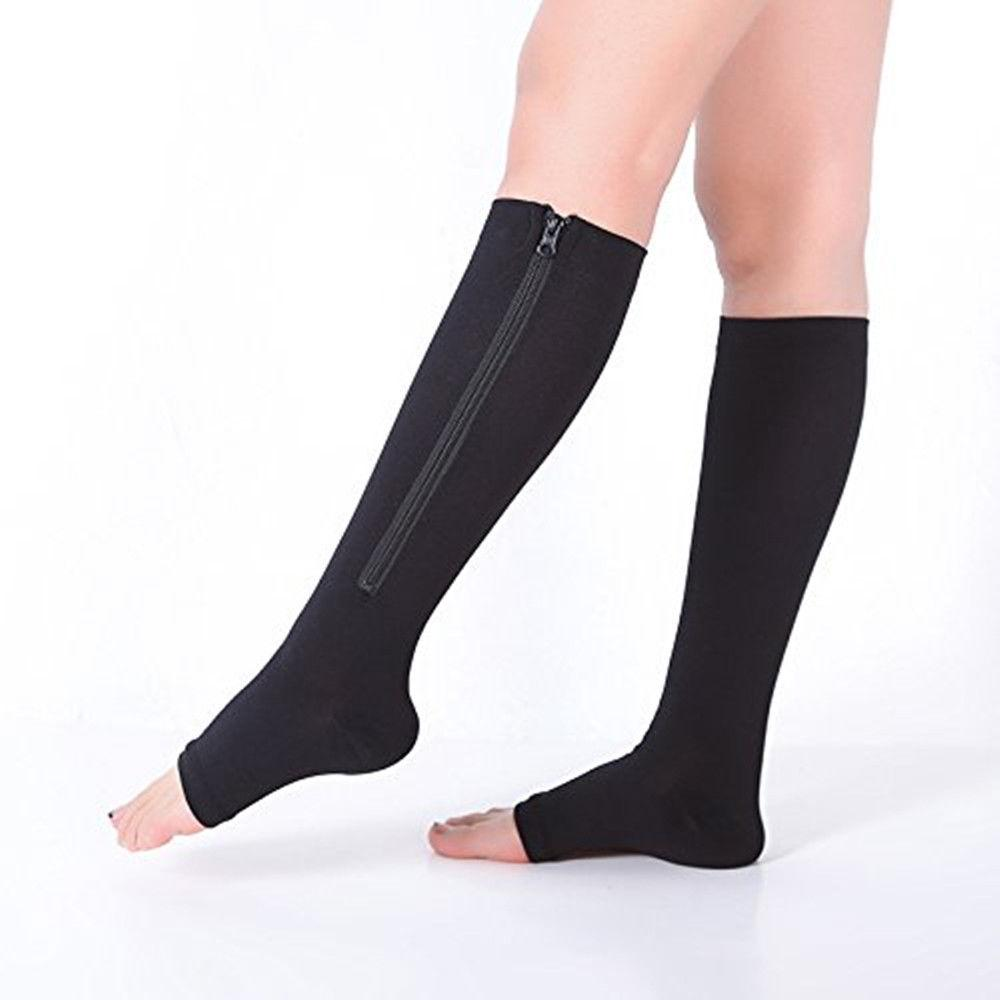 Open Toe Compression Socks with Zipper
