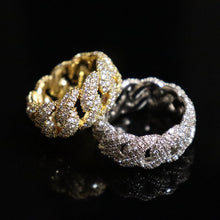 Load image into Gallery viewer, Iced Out Cuban Link Chain Ring w/ Cubic Zirconia