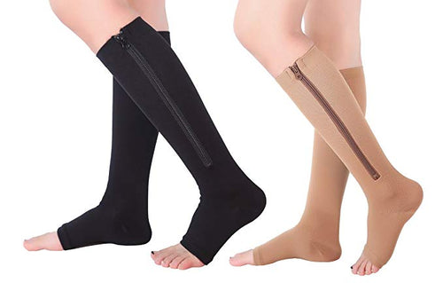 Zippered Open Toe Compression Socks