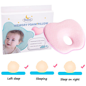 Hidetex Baby Apple Pillow - Preventing Flat Head Syndrome (Plagiocephaly) for Your Newborn Baby,Made of Memory Foam Head- Shaping Pillow and Neck Support (0-12 Months)