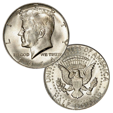 $1 Face - 90% Silver 1964 JFK Half Dollars Brilliant Uncirculated (BU)