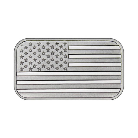1 Ounce Silvertowne Mint .999 Silver American Flag Bar - Tophatter