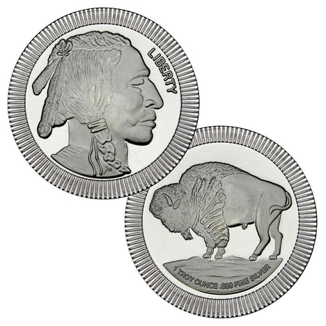 1 Ounce Silvertowne Mint .999 Silver Stackable Buffalo Round