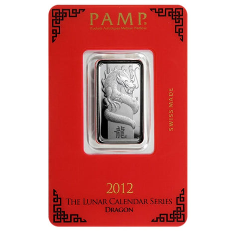 10 Gram .999 Fine Silver Bar - Pamp Suisse - Year of the Dragon 2012 - Lunar Series